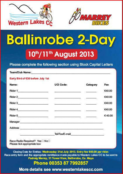 Ballinrobe 2 day entry form 2013