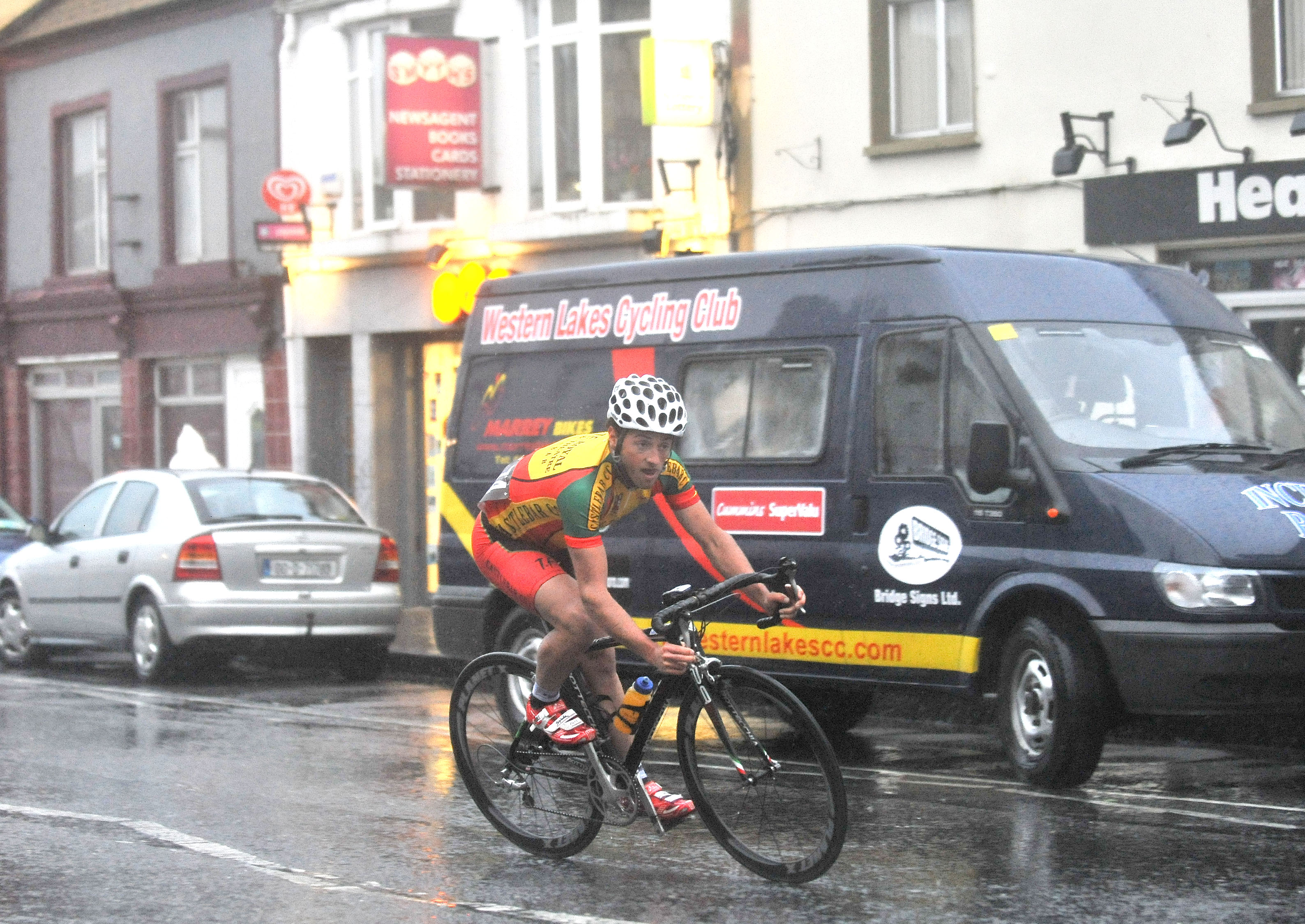 Paddy Clarke (Castlebar CC) 1st at the Claremorris Crit. Pic Co nor McKeown