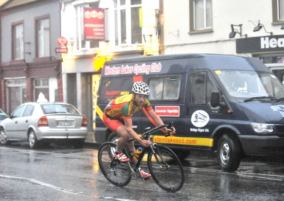 Paddy Clarke (Castlebar CC) 1st at the Claremorris Crit. Pic Co nor McKeown