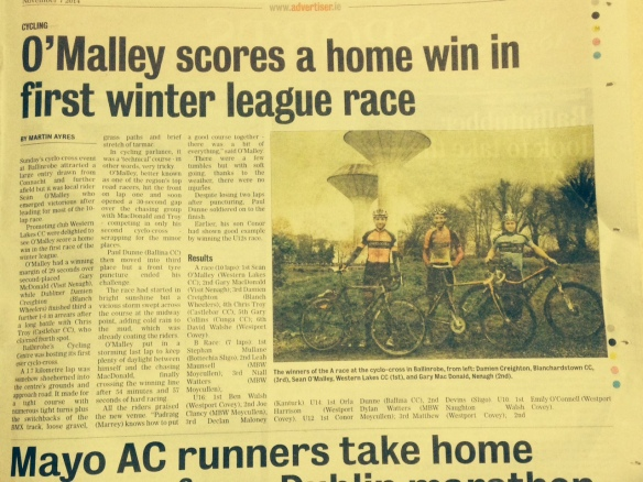 Report of cyclo cross nov 2014