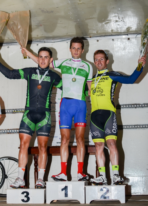National Criterium championships podium L to R 3rd Conor Hennebry Carrick on Suir, Winner Mark Dowling DID Dunboyne, 2nd Padi O Brien Osbourne meats Cork.