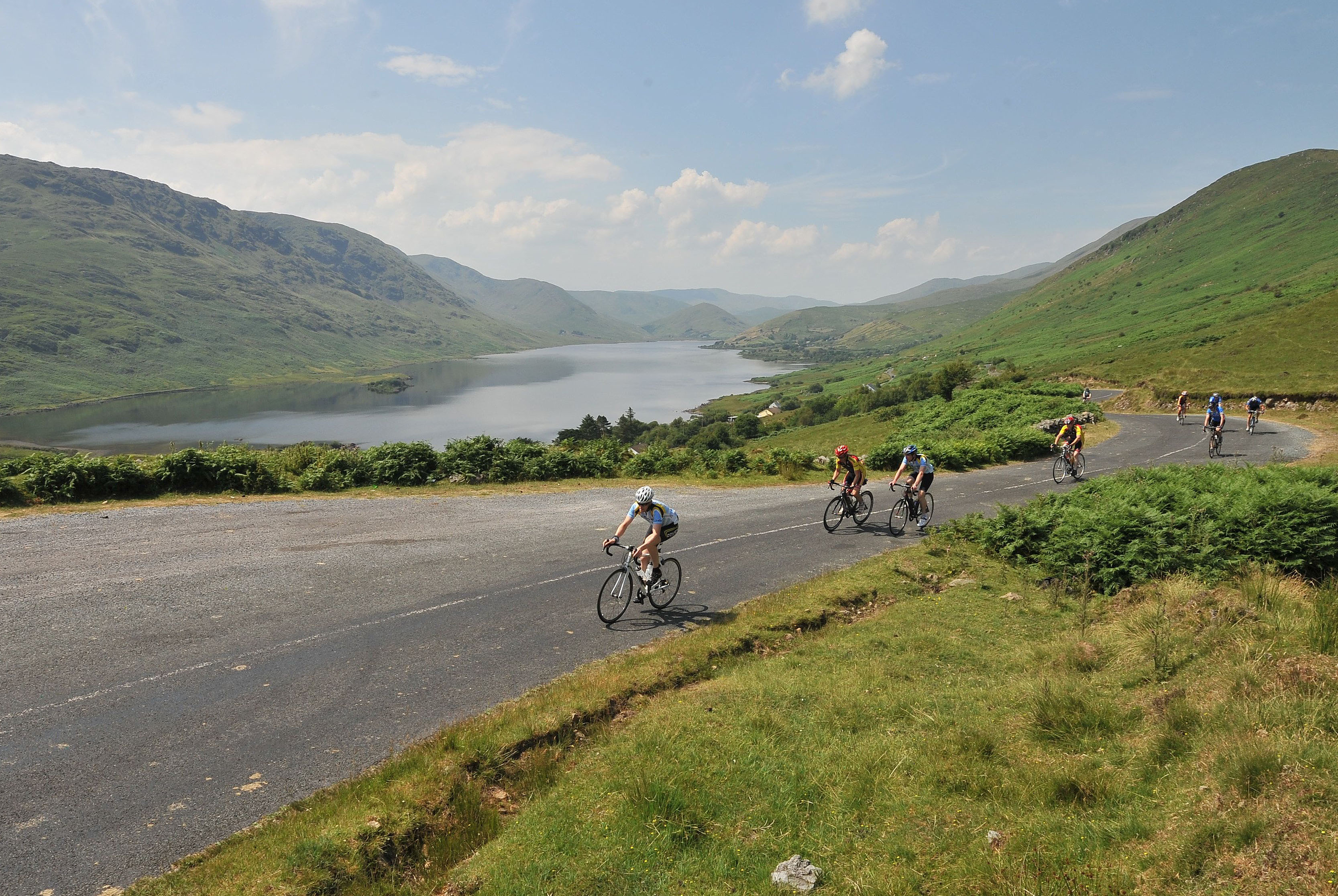 On the way up over Maumtrasna  Over 300 cyclists took part in Westportif a leisure Cycle route covering an 80km & 160km via Louisburgh Doolough, Leenaun, Maam Cross, Tourmakeady and back to Westport. Proceeds from the cycle were in aid of Pieta House. Pic Conor McKeown
